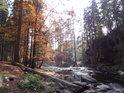 Podzimní Divoká Orlice nad Pašeráckou lávkou uprostřed chráněného území Zemská brána.